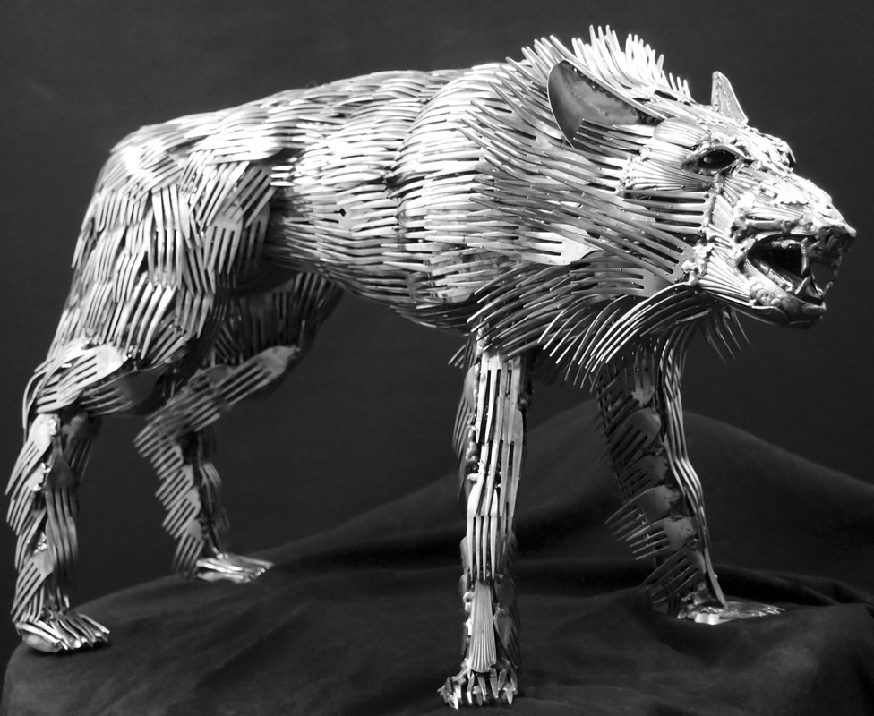 Artist Welds Flatware Into Fusion Of Animal Forms Lost
