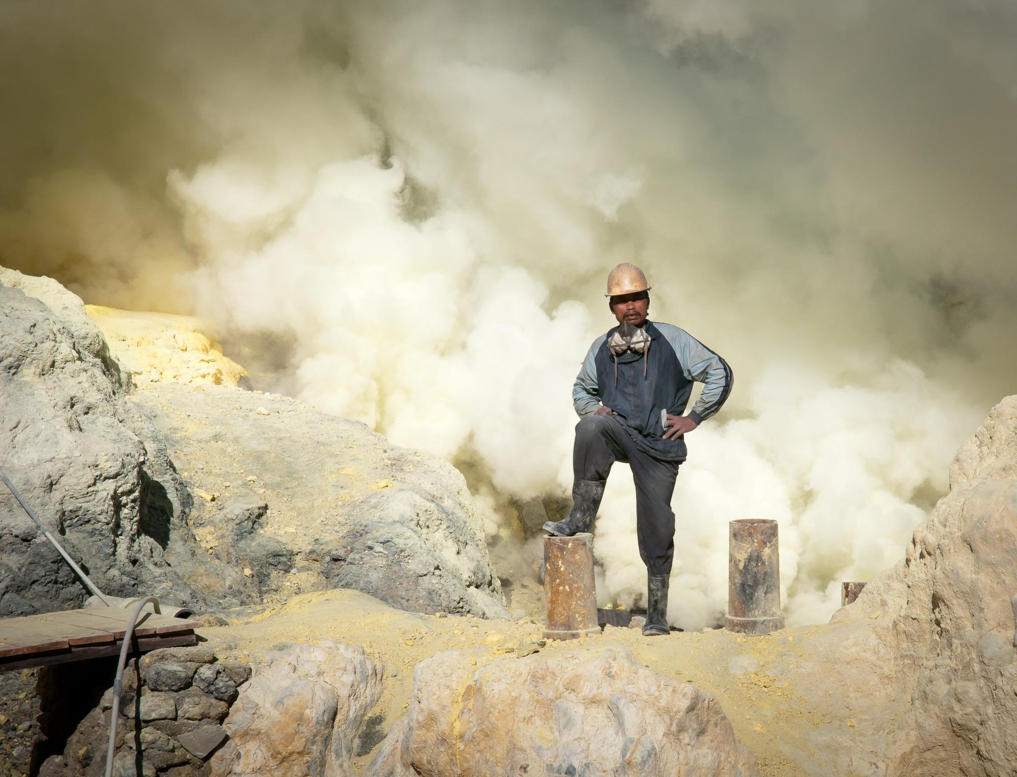 Worker at the mine (Kawah Ijen, Java, Indonesia)