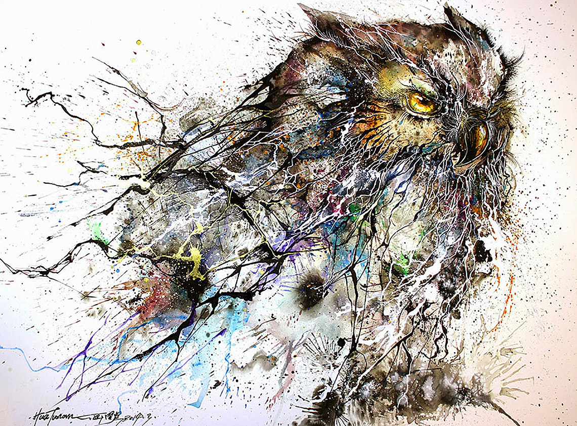 Paint splatters used to depict night owl lost in internet for Cool paintings for sale