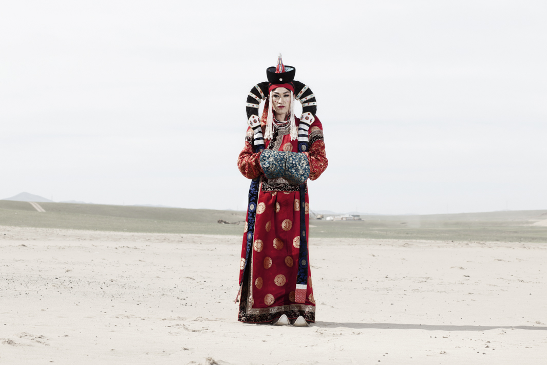 Nyamka wears a traditional mongolian queen costume.