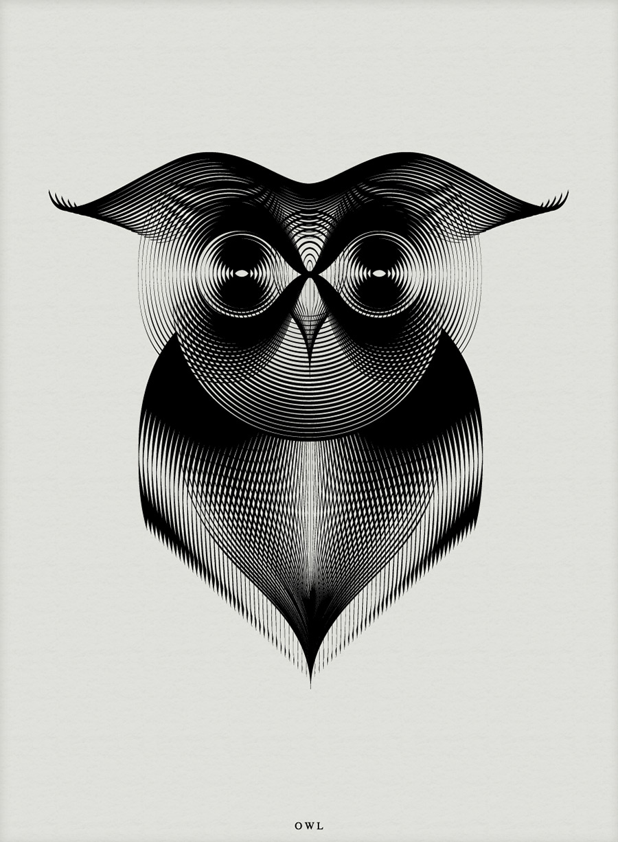Line Art Illustration Style : Designer creates animals that could be on a maori warrior