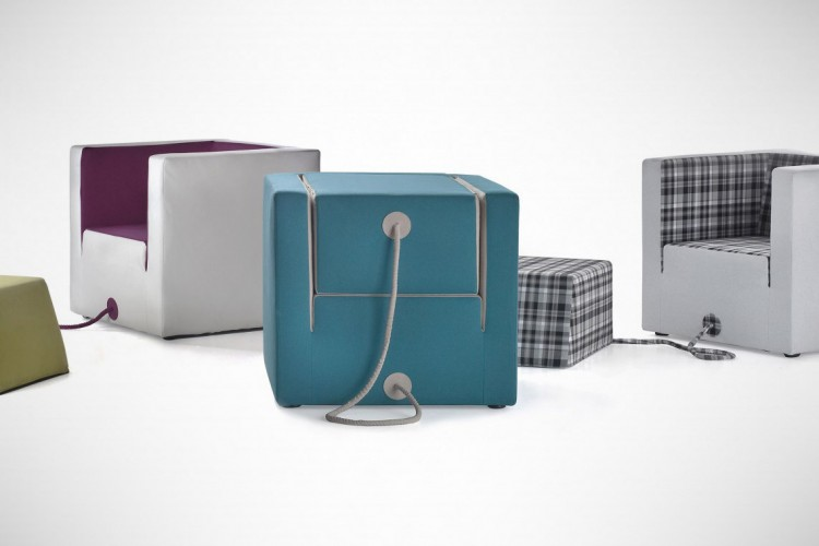 two in one furniture. Cubic Furniture Sports A Cool Two-in-One Design Incorporating An Armchair And Stool Two In One E