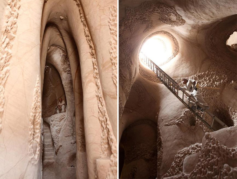Man Cave New Mexico : Ra paulette has spent years carving designs in caves