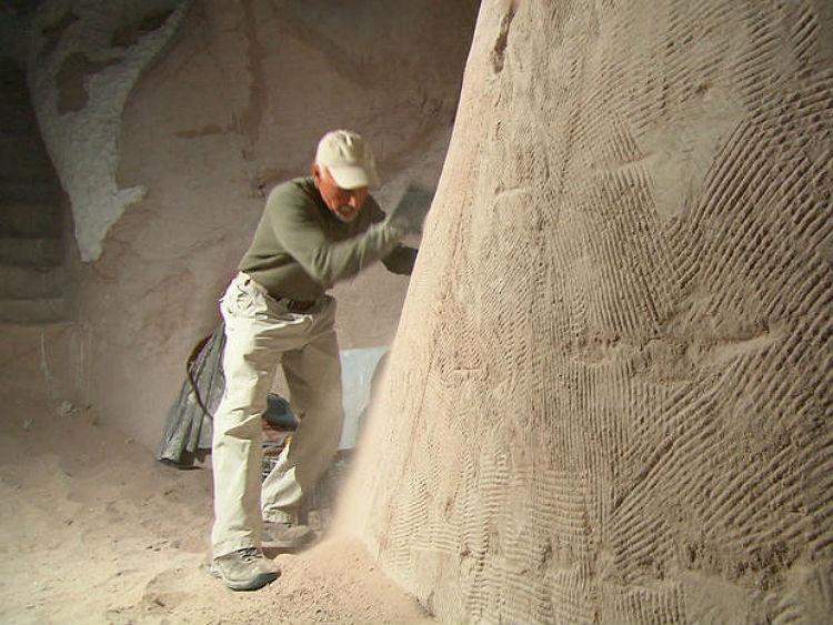 Man Carves Cave With Dog : Ra paulette has spent years carving designs in caves