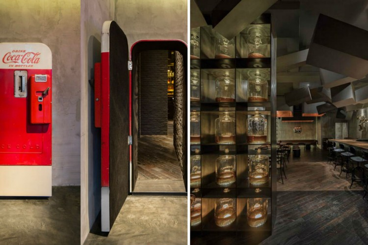 In China a hidden door provides the only separation to the ultimate juxtaposition between light and dark and lunch or spirits in Flask and The Press. & Secret Door Leads to Speakeasy | Lost in Internet