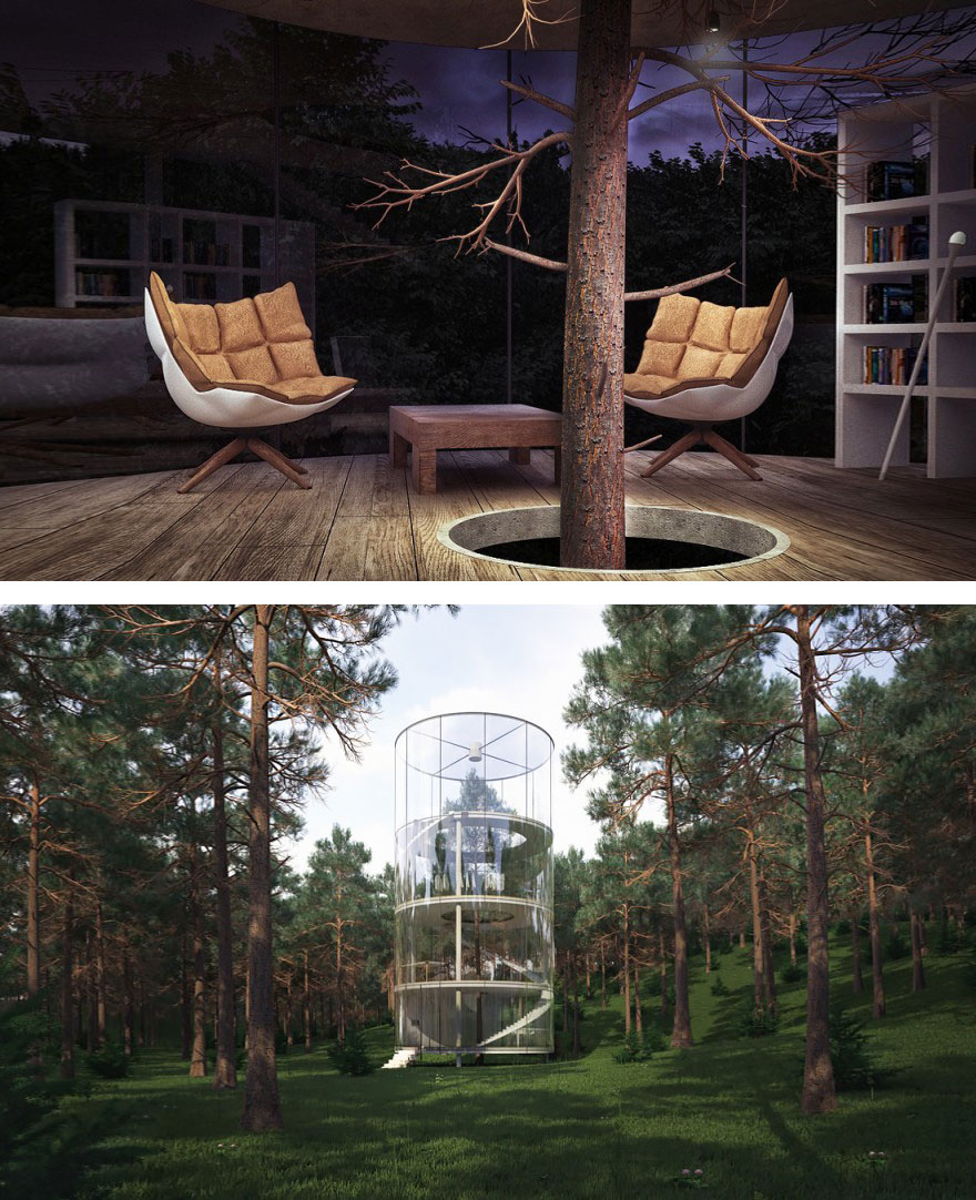 Architects work around mother nature lost in internet for Houses built in trees