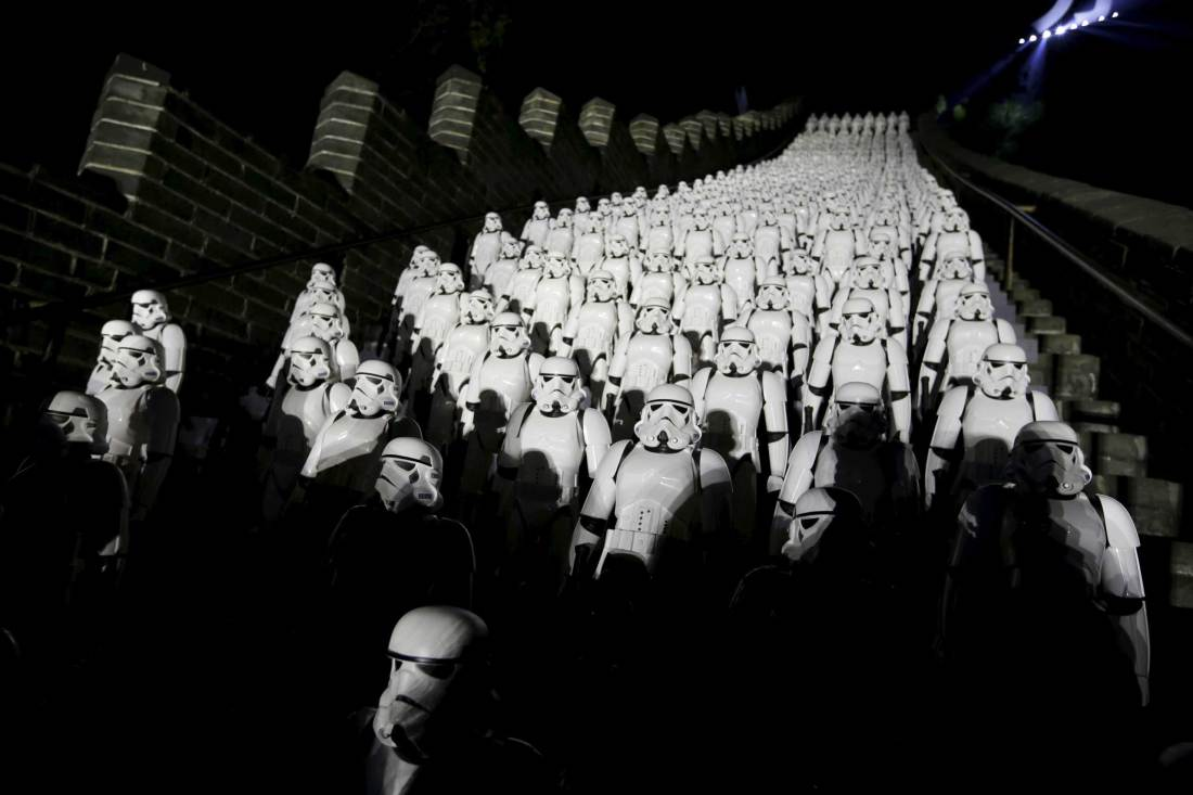 "Five hundred replicas of the Stormtroopers characters from ""Star Wars"" are seen on the steps at the Juyongguan section of the Great Wall of China during a promotional event for ""Star Wars: The Force Awakens"" film, on the outskirts of Beijing"