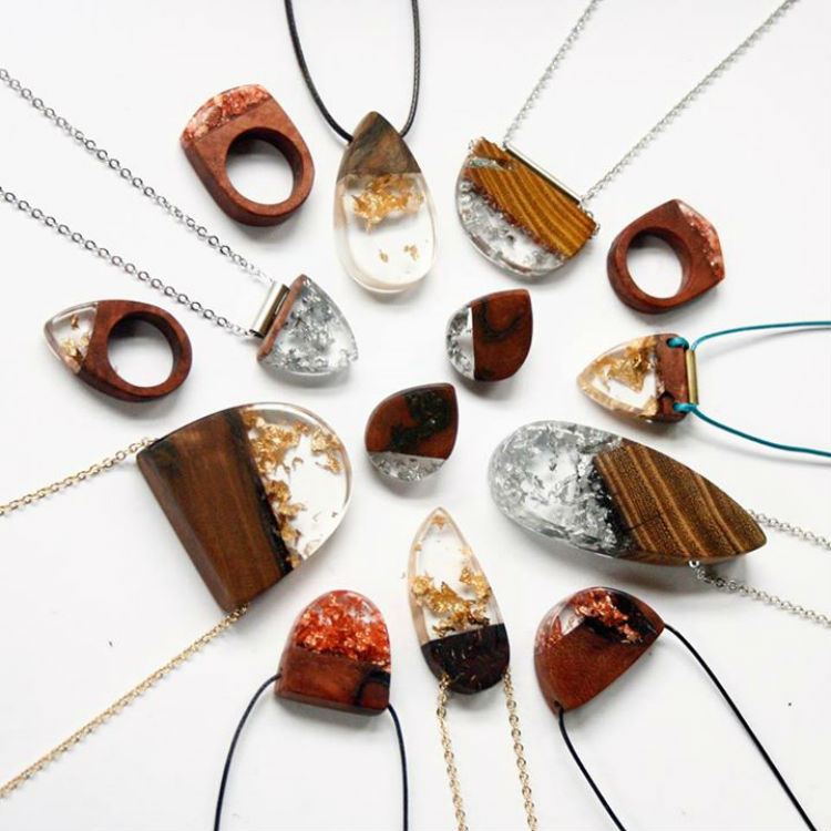 make a statement with wood and resin jewelry lost in