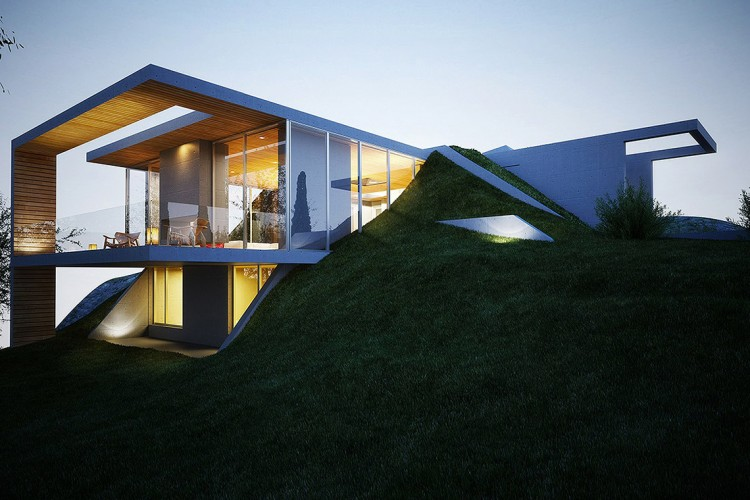 This Set Of Images Is From The Earth House Project Proposed By Molos Group Imagines A Modern Built Into Ground